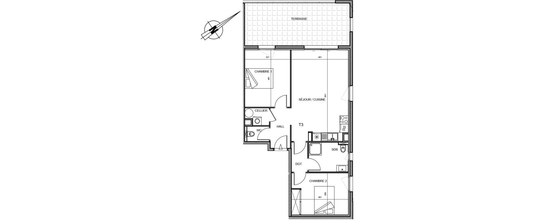 Appartement T3 de 65,32 m2 à Propriano Centre