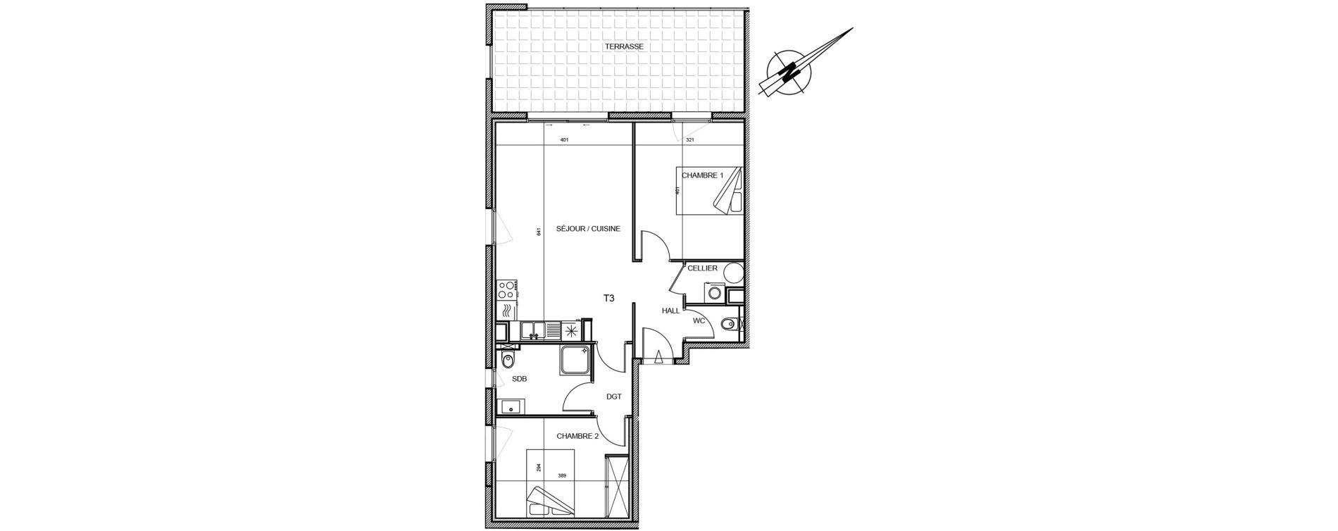 Appartement T3 de 64,96 m2 à Propriano Centre