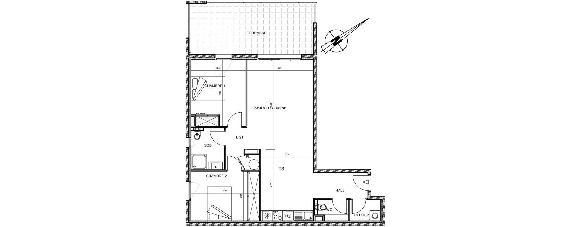 Appartement T2 de 74,00 m2 à Propriano Centre