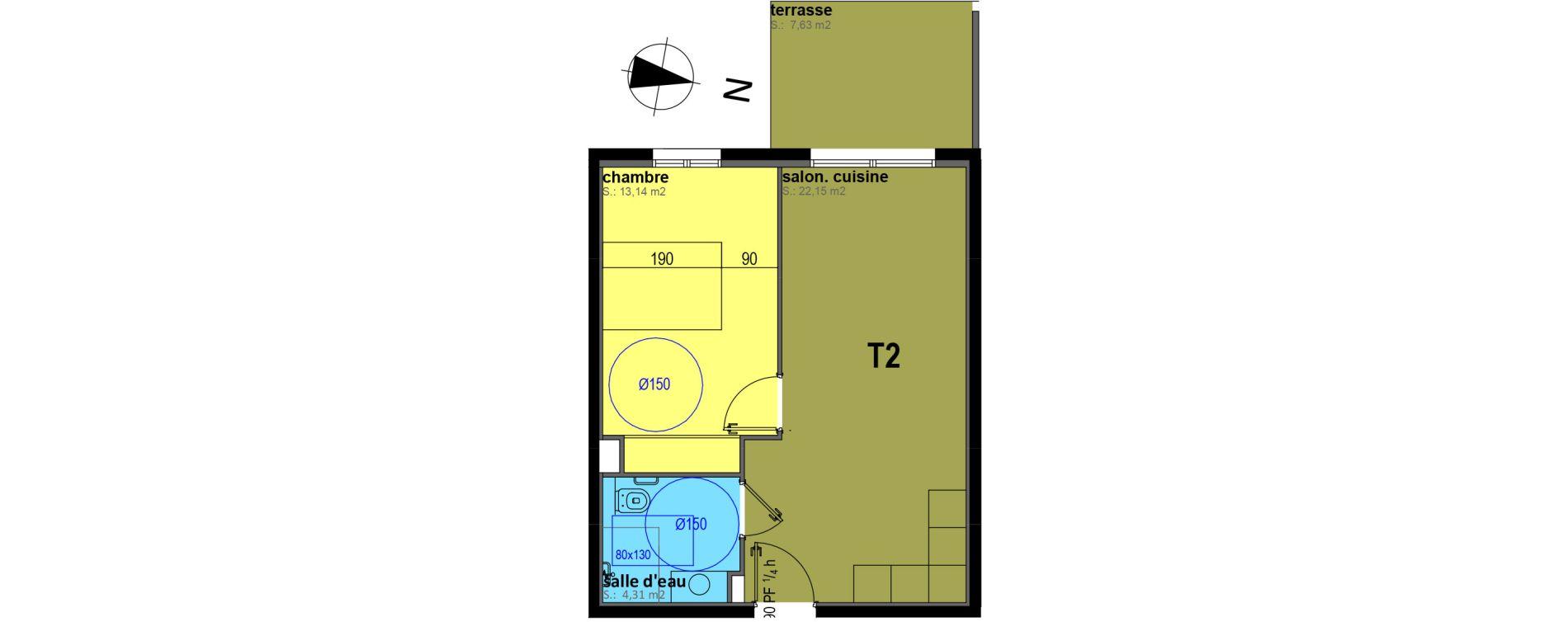 Appartement T2 meublé de 39,60 m2 à Sari-Solenzara Centre