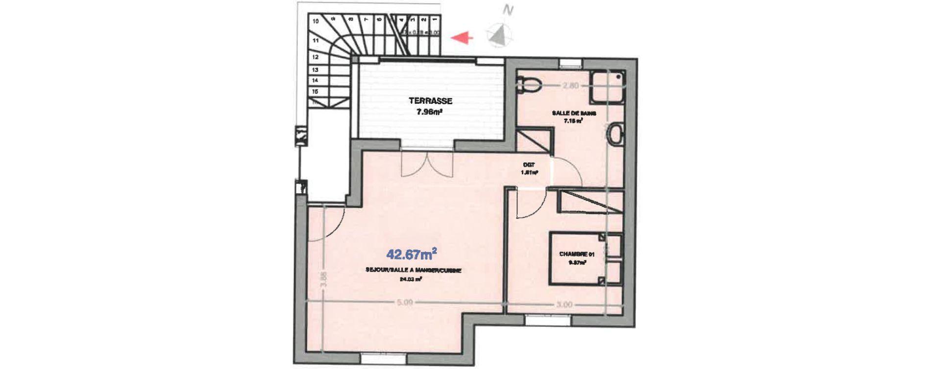 Appartement T2 de 42,67 m2 à Calenzana Centre