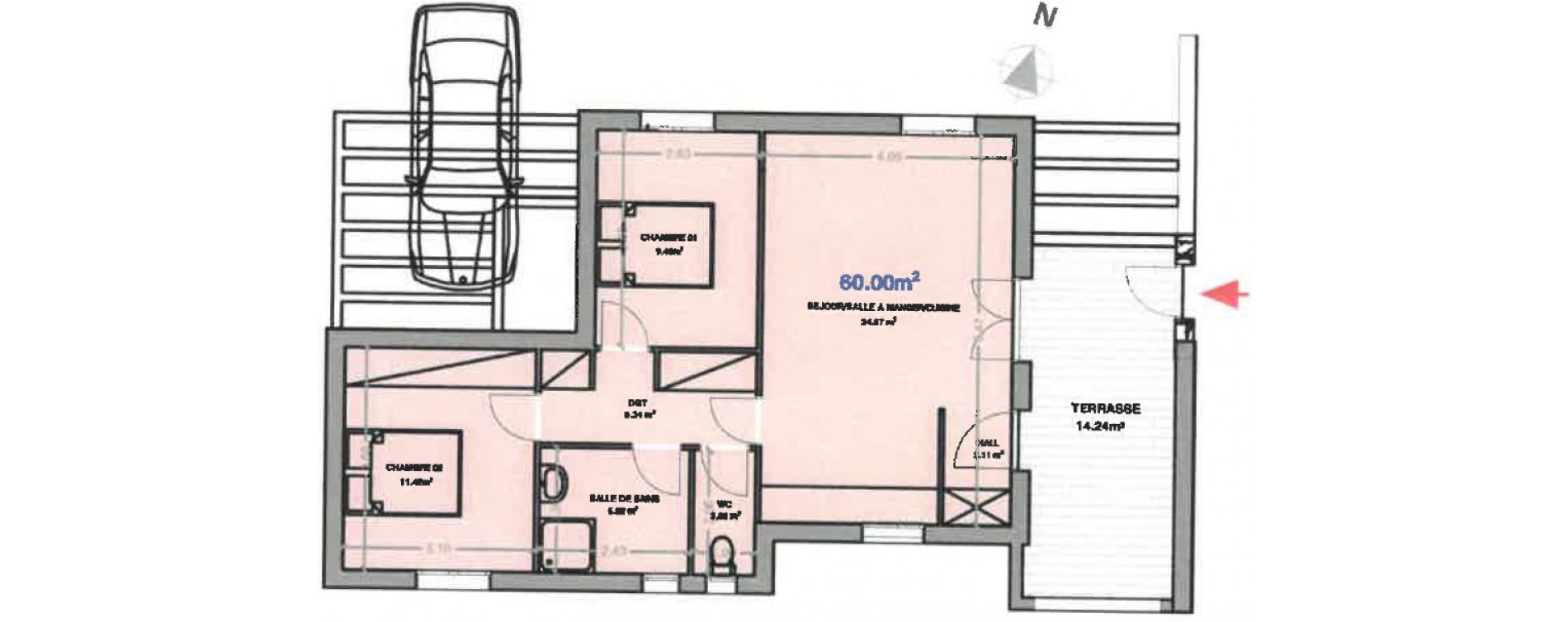 Appartement T3 de 60,00 m2 à Calenzana Centre