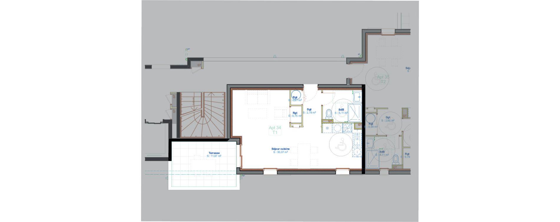 Appartement T1 de 39,38 m2 à Calvi Centre