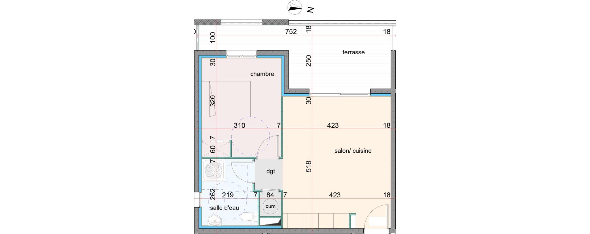 Appartement T2 de 41,50 m2 à Penta-Di-Casinca Centre