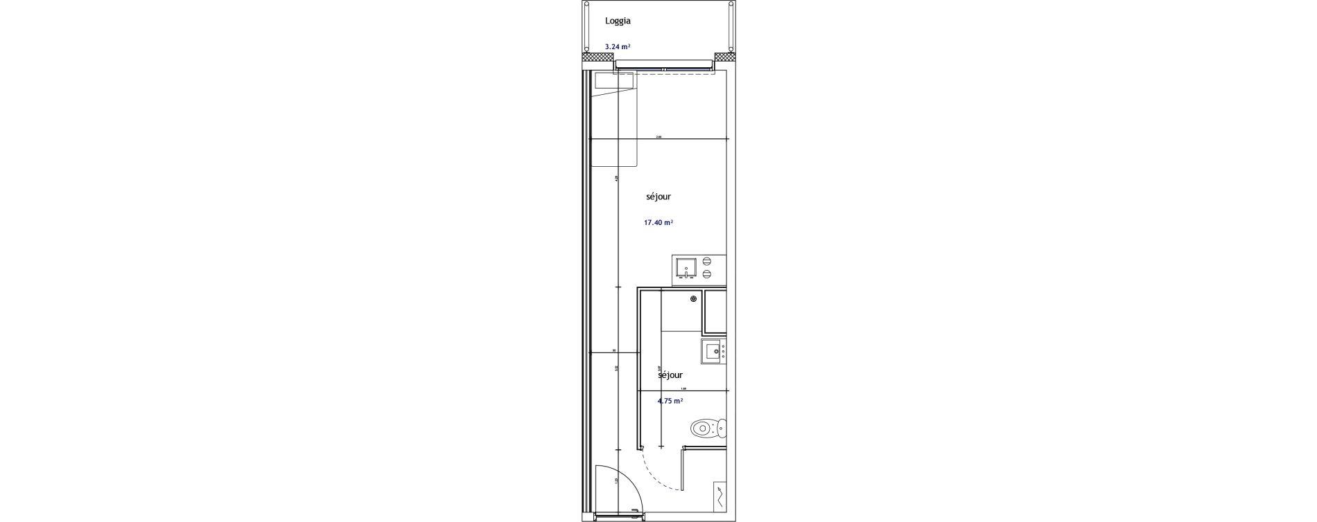 Appartement T1 de 22,14 m2 à Illkirch-Graffenstaden Les prairies du canal