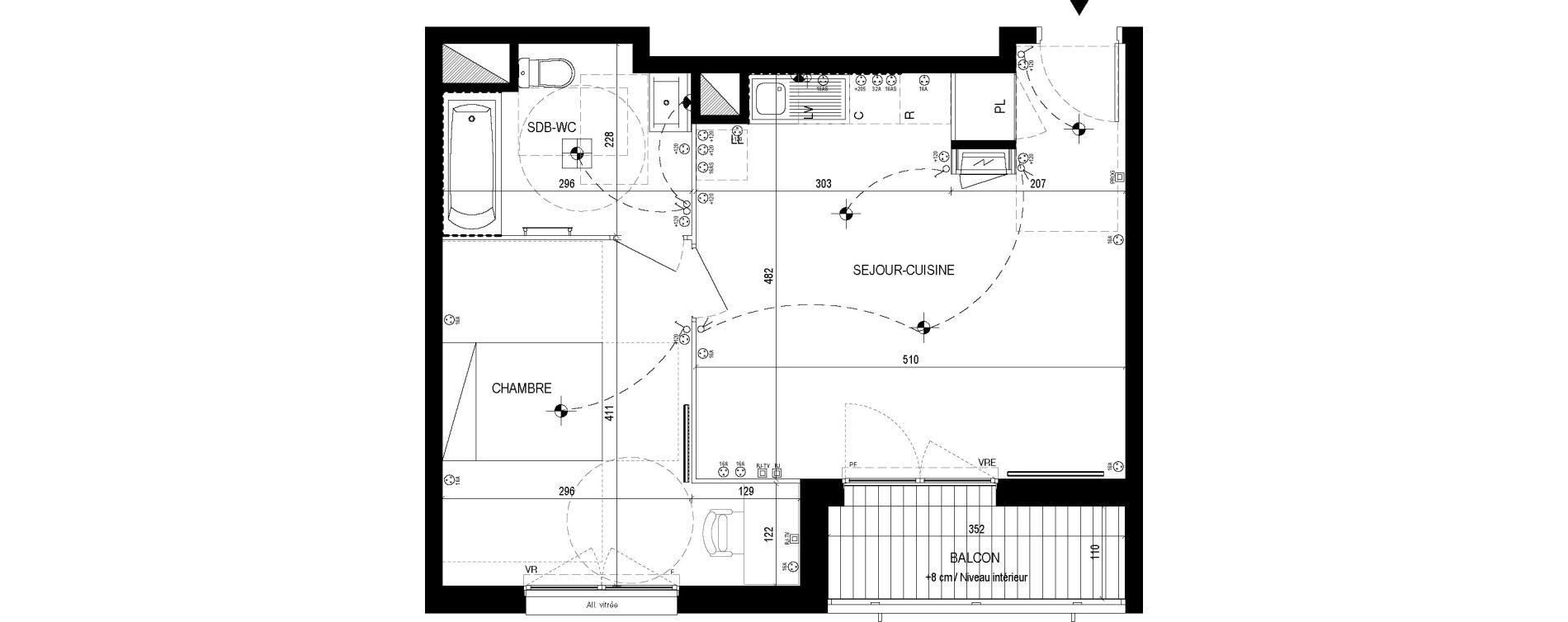 Appartement T2 de 44,25 m2 à Lingolsheim Les tanneries