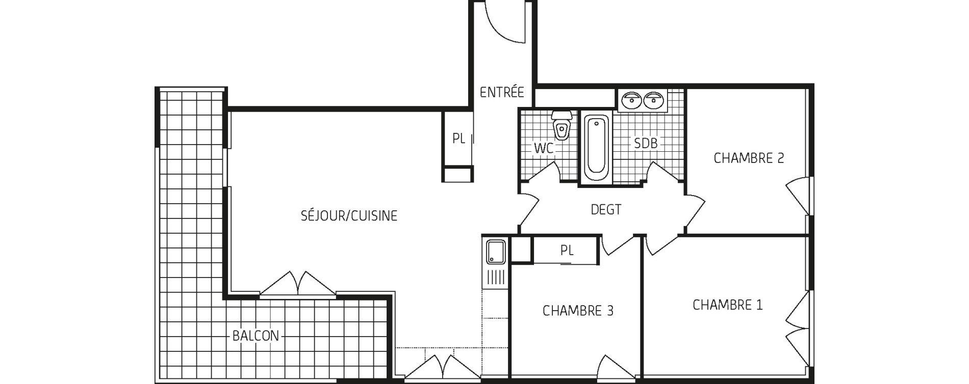 Appartement T4 de 76,25 m2 à Lingolsheim Les tanneries
