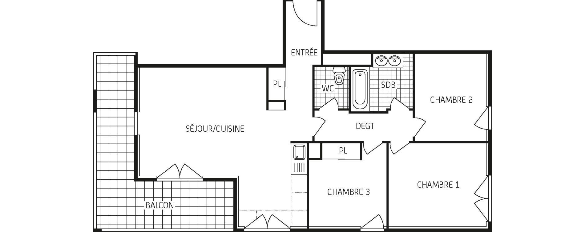 Appartement T4 de 76,20 m2 à Lingolsheim Les tanneries