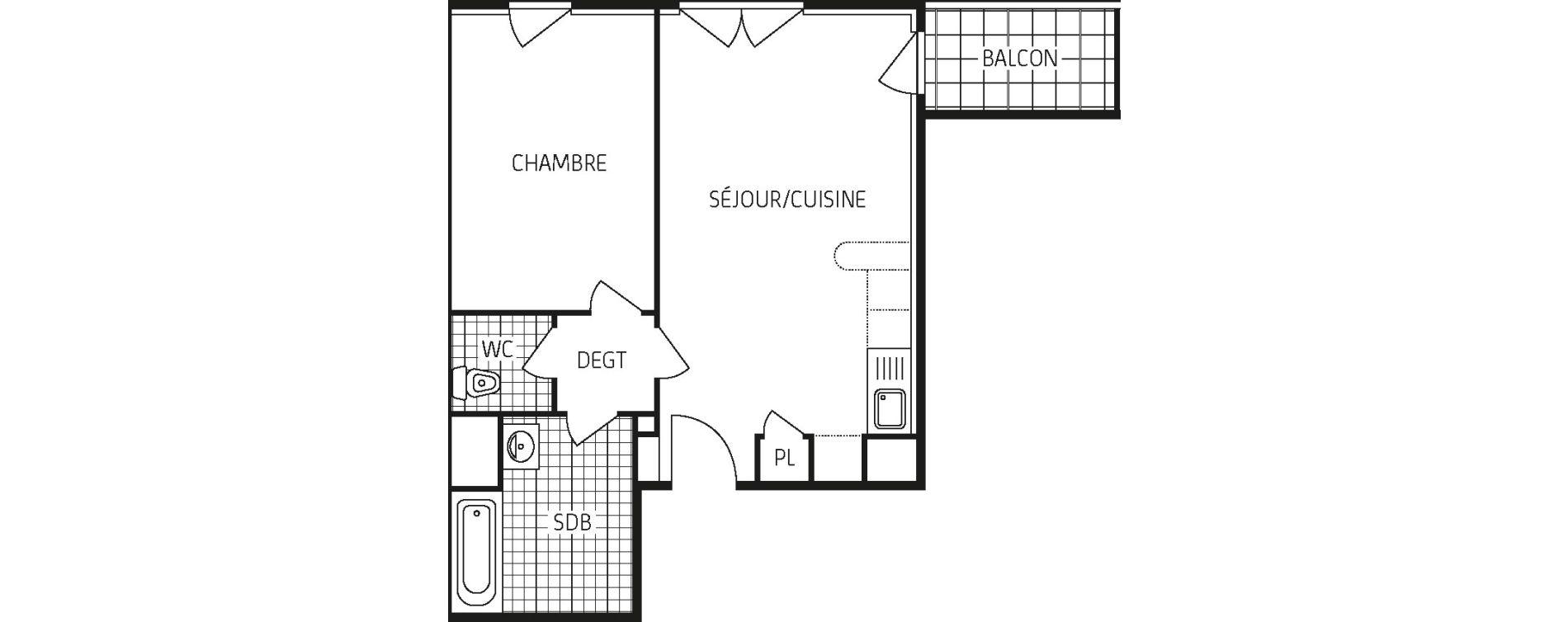Appartement T2 de 44,85 m2 à Lingolsheim Les tanneries