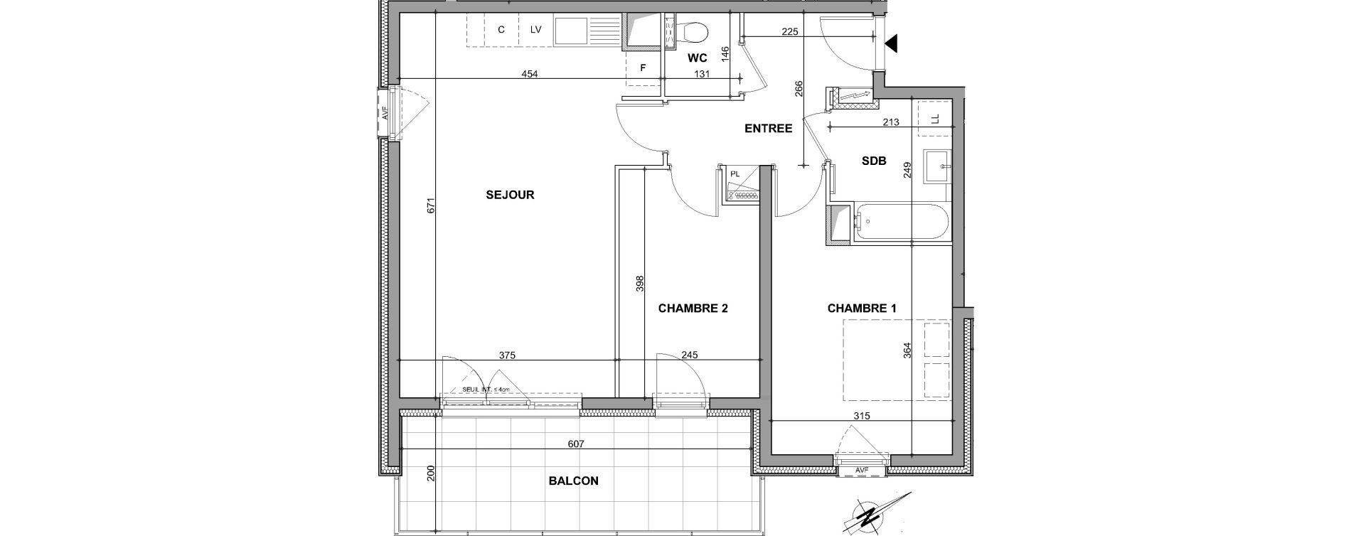 Appartement T3 de 62,26 m2 à Oberhausbergen Centre