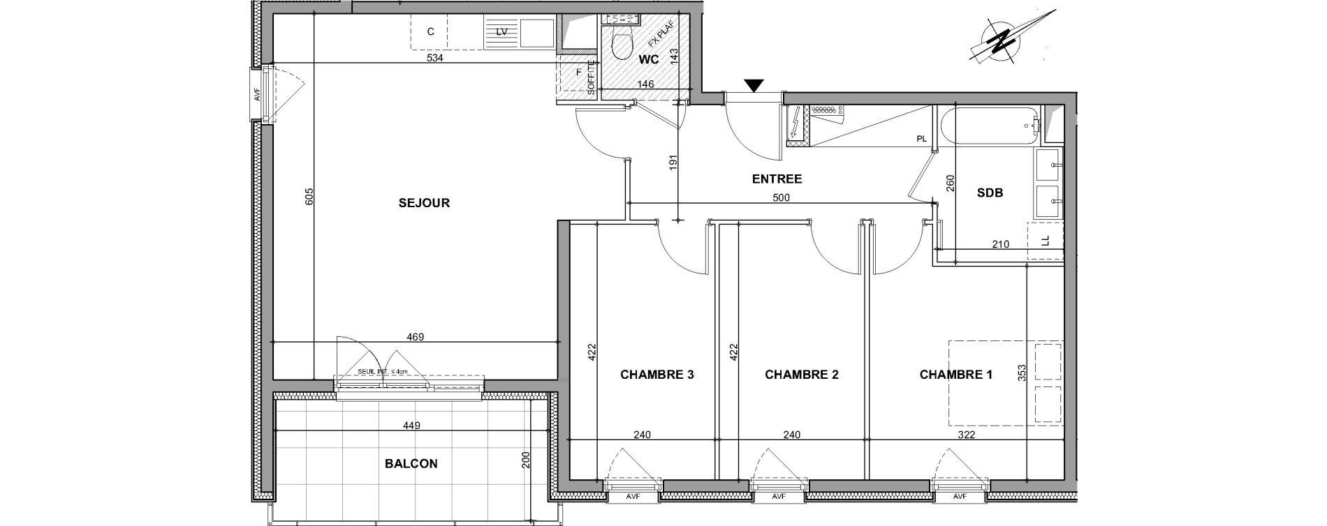 Appartement T4 de 79,77 m2 à Oberhausbergen Centre