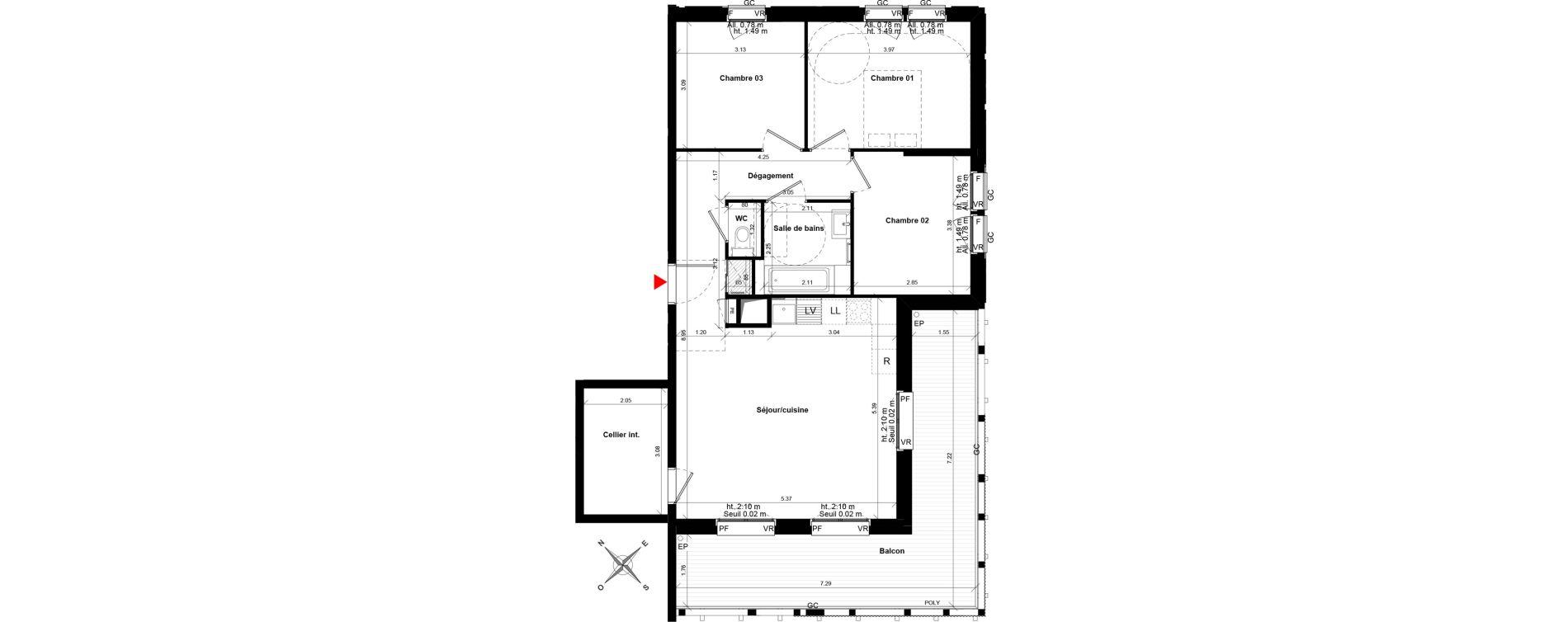Appartement T4 de 80,50 m2 à Ostwald Les rives du bohrie