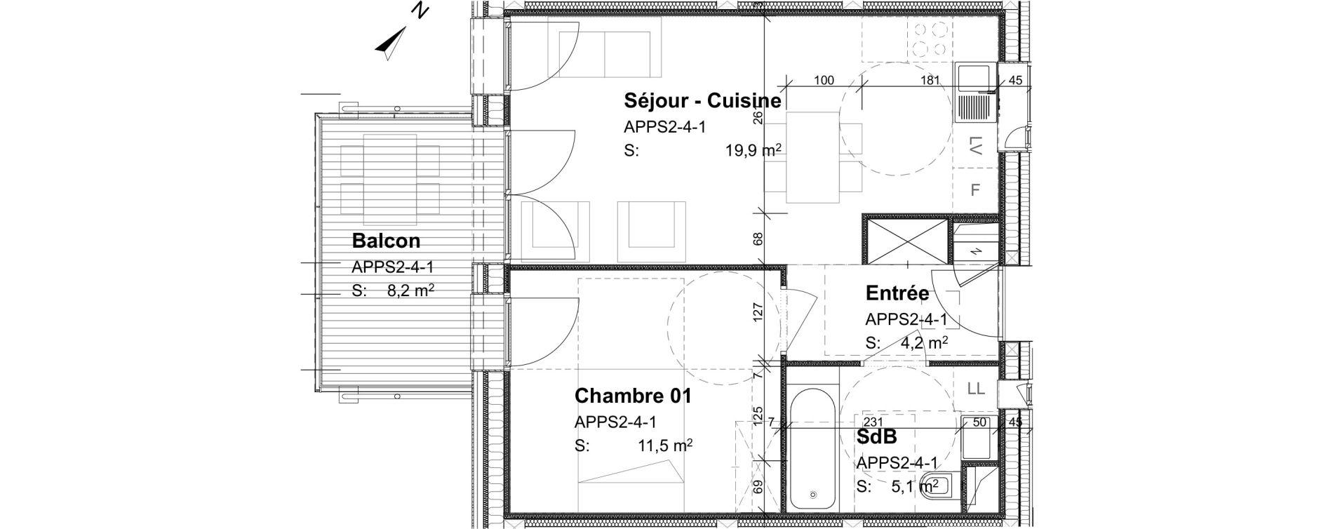 Appartement T2 de 40,70 m2 à Strasbourg Port du rhin