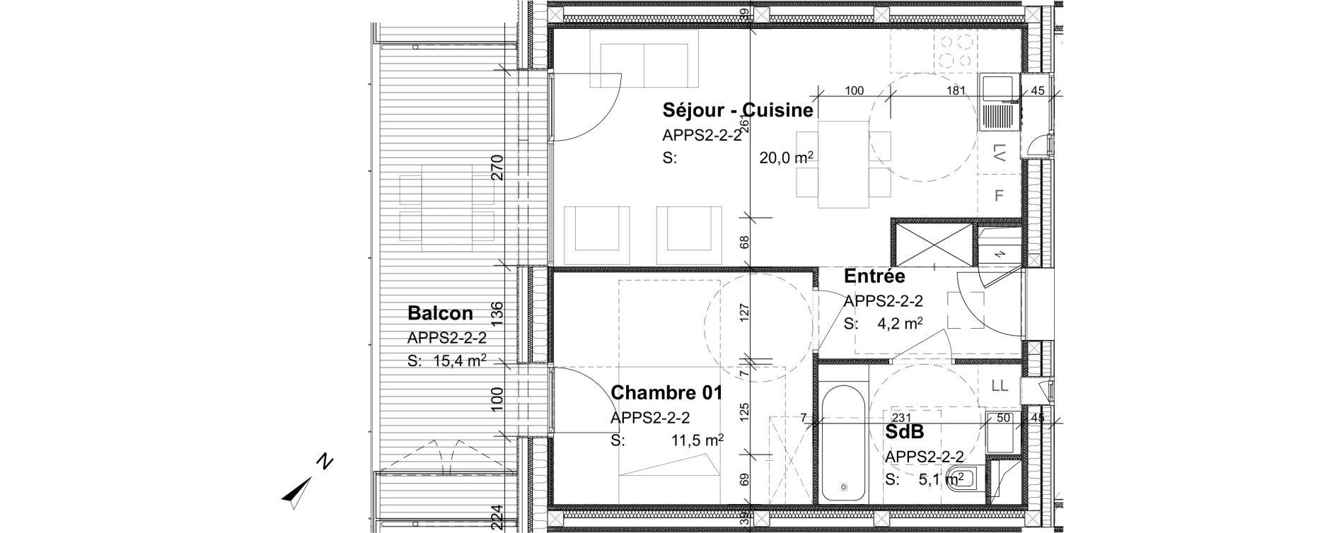 Appartement T2 de 40,80 m2 à Strasbourg Port du rhin