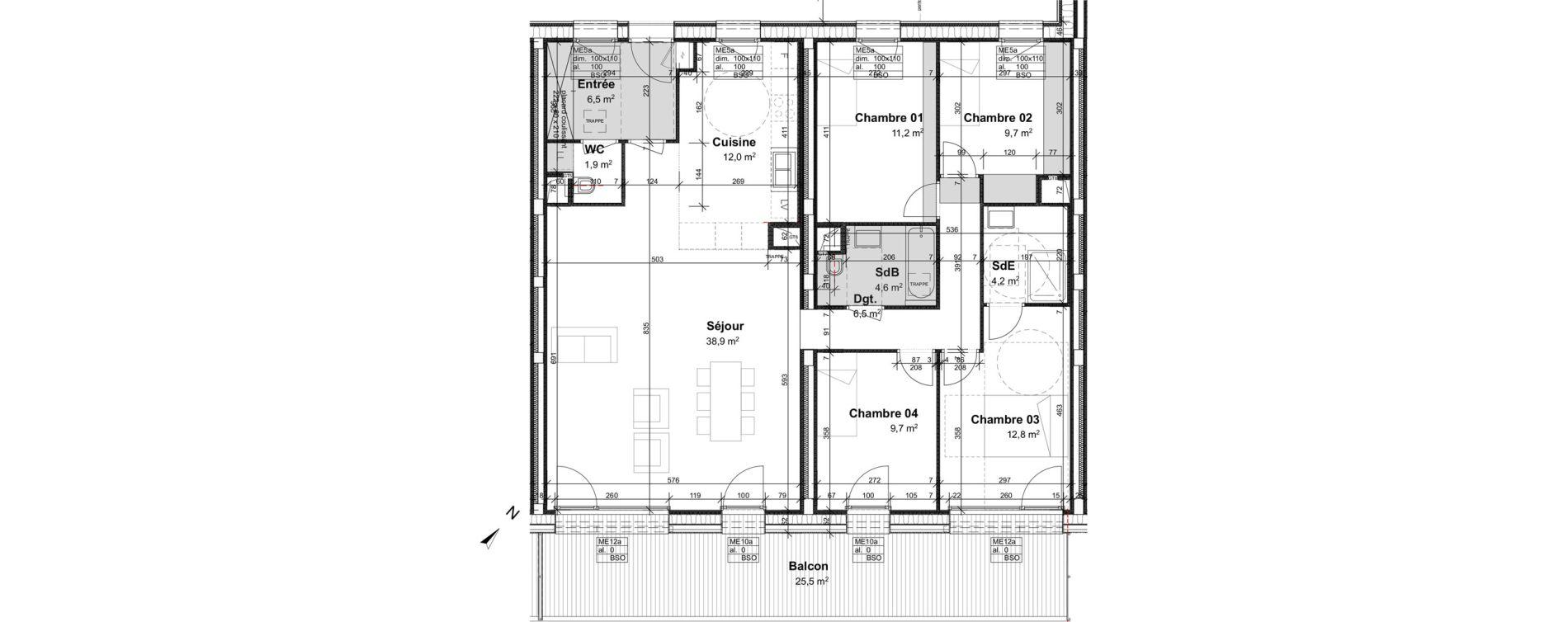 Appartement T5 de 118,00 m2 à Strasbourg Port du rhin