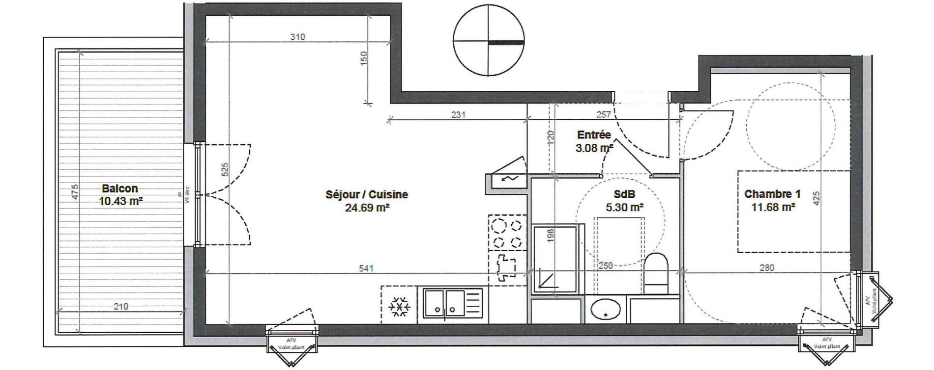 Appartement T2 de 44,75 m2 à Strasbourg Robertsau