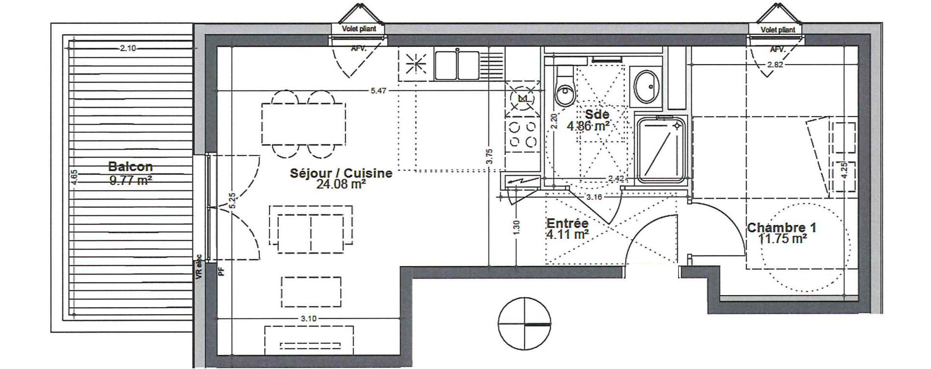 Appartement T2 de 44,80 m2 à Strasbourg Robertsau
