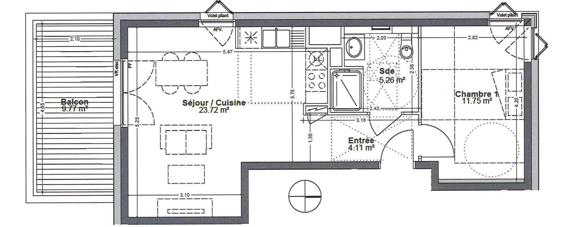Appartement T2 de 44,84 m2 à Strasbourg Robertsau