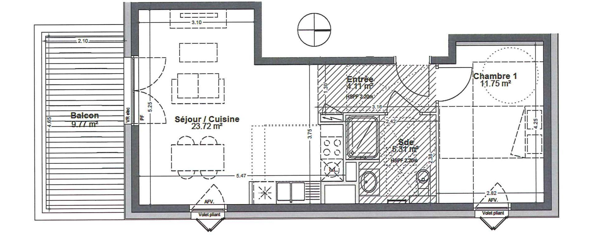 Appartement T2 de 44,89 m2 à Strasbourg Robertsau