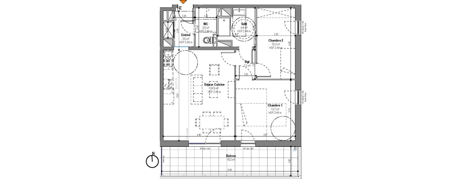 Appartement T3 de 62,60 m2 à Strasbourg La ganzau