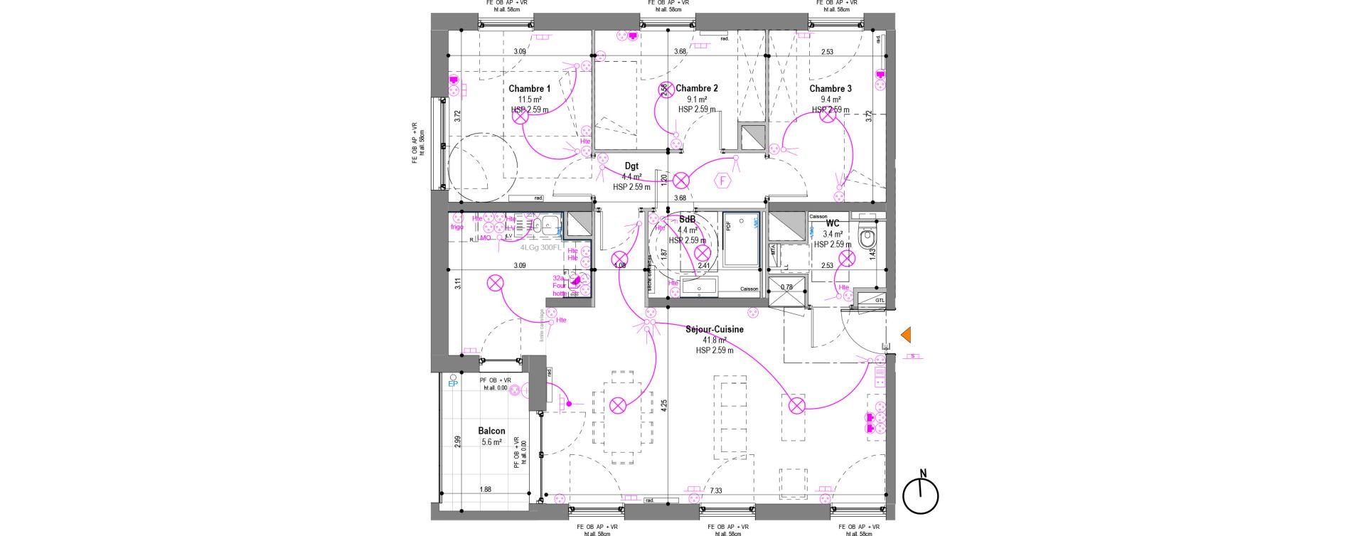 Appartement T4 de 84,40 m2 à Strasbourg La ganzau