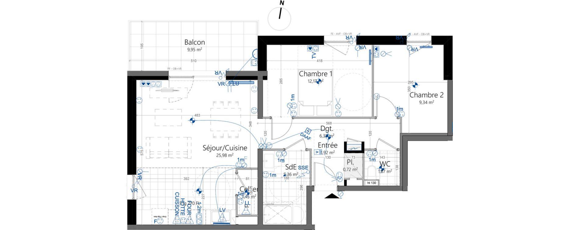 Appartement T3 de 65,19 m2 à Strasbourg Koenigshoffen