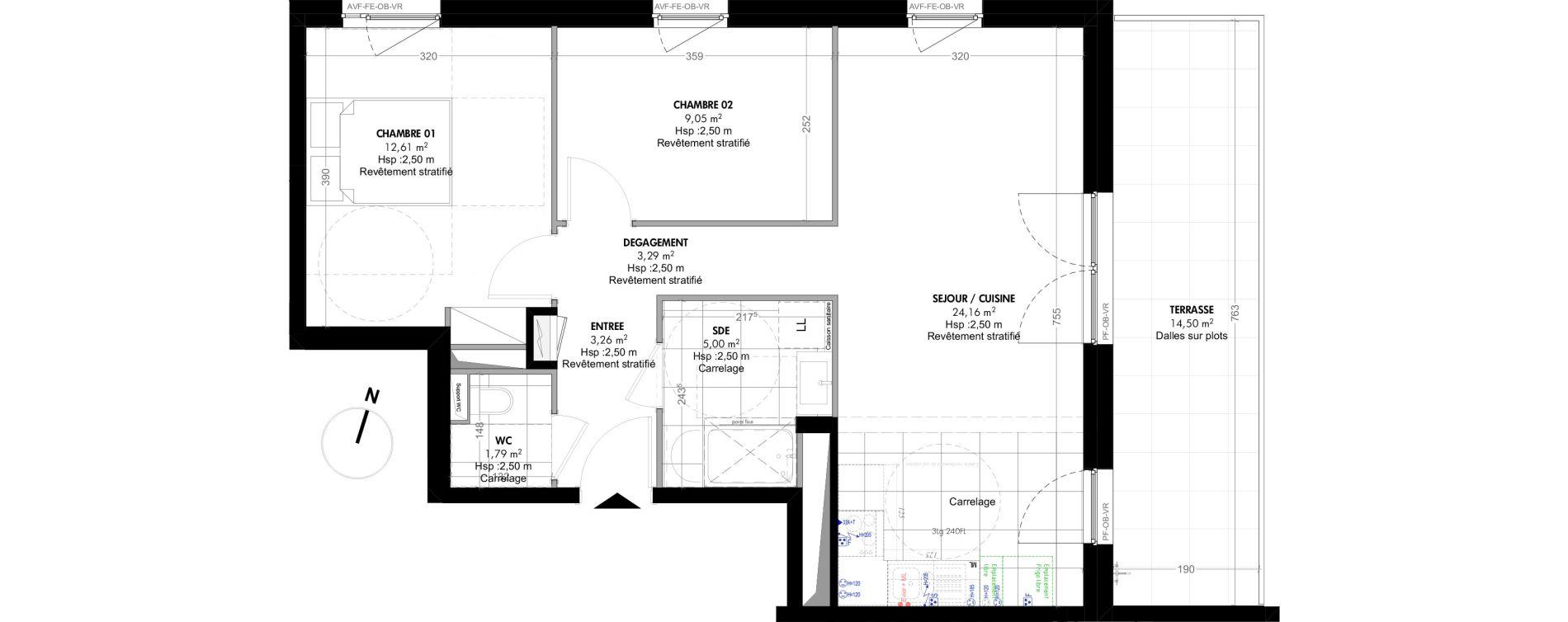 Appartement T3 de 59,16 m2 à Strasbourg Koenigshoffen