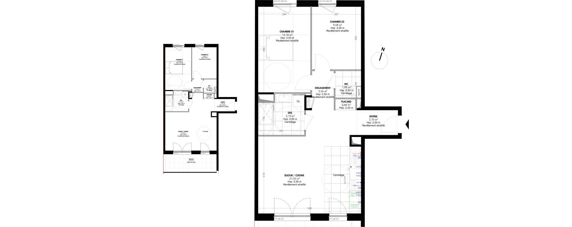 Appartement T3 de 62,45 m2 à Strasbourg Koenigshoffen