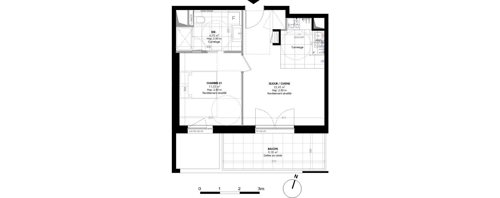 Appartement T2 de 40,10 m2 à Strasbourg Koenigshoffen