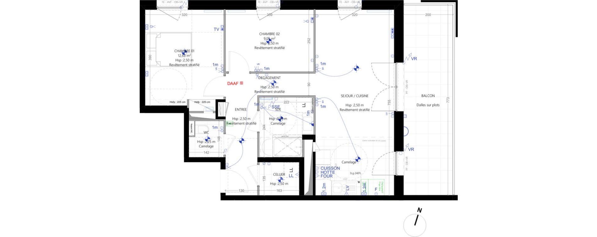 Appartement T3 de 63,38 m2 à Strasbourg Koenigshoffen