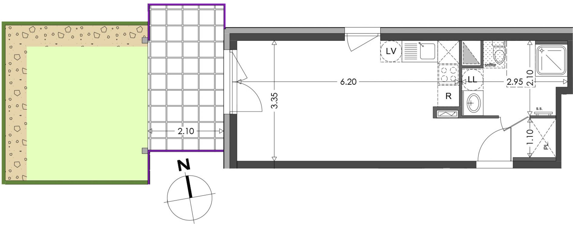 Appartement T1 de 29,18 m2 à Strasbourg Koenigshoffen