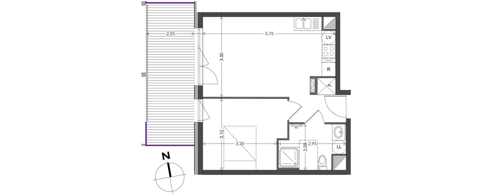 Appartement T2 de 37,80 m2 à Strasbourg Koenigshoffen