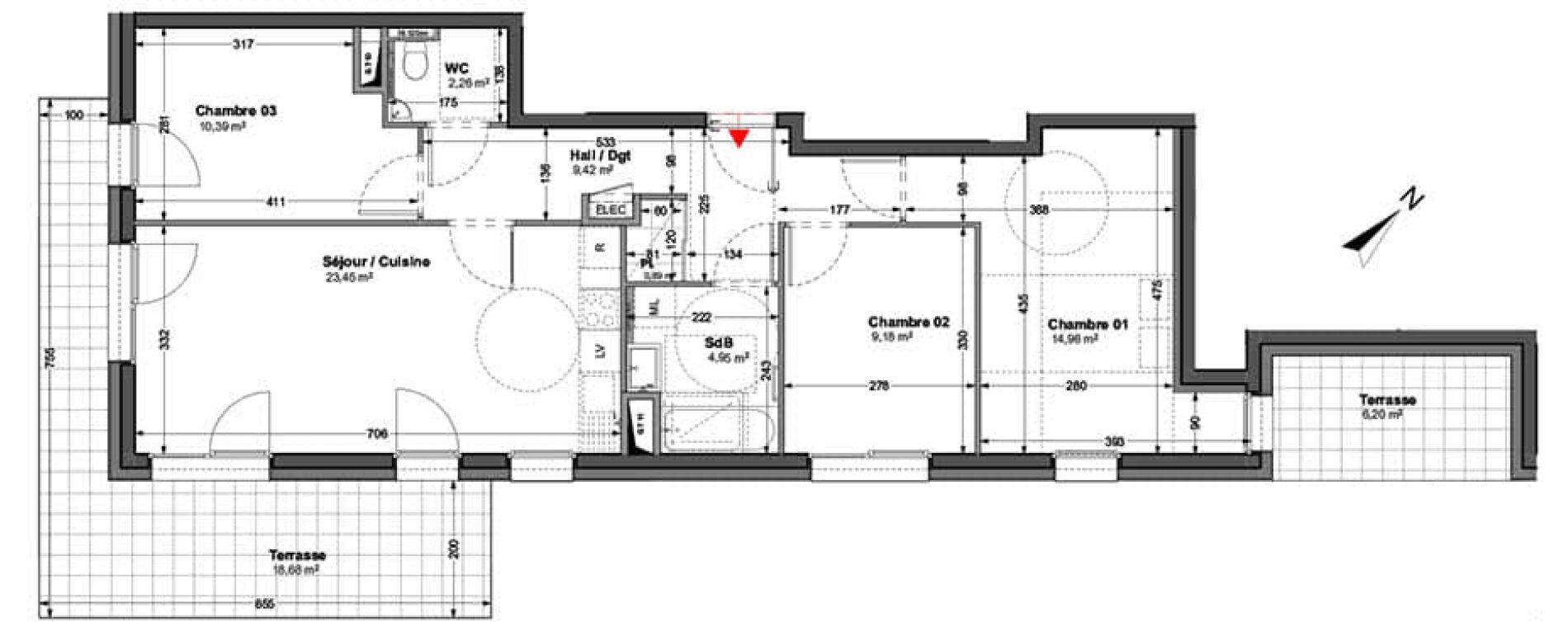 Appartement T4 de 75,50 m2 à Huningue Centre