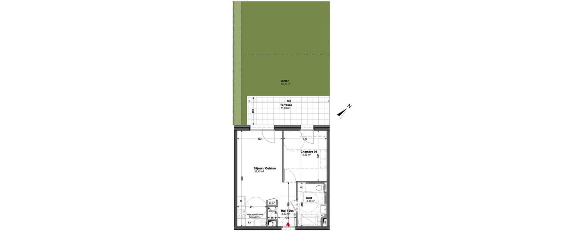 Appartement T2 de 42,16 m2 à Huningue Centre