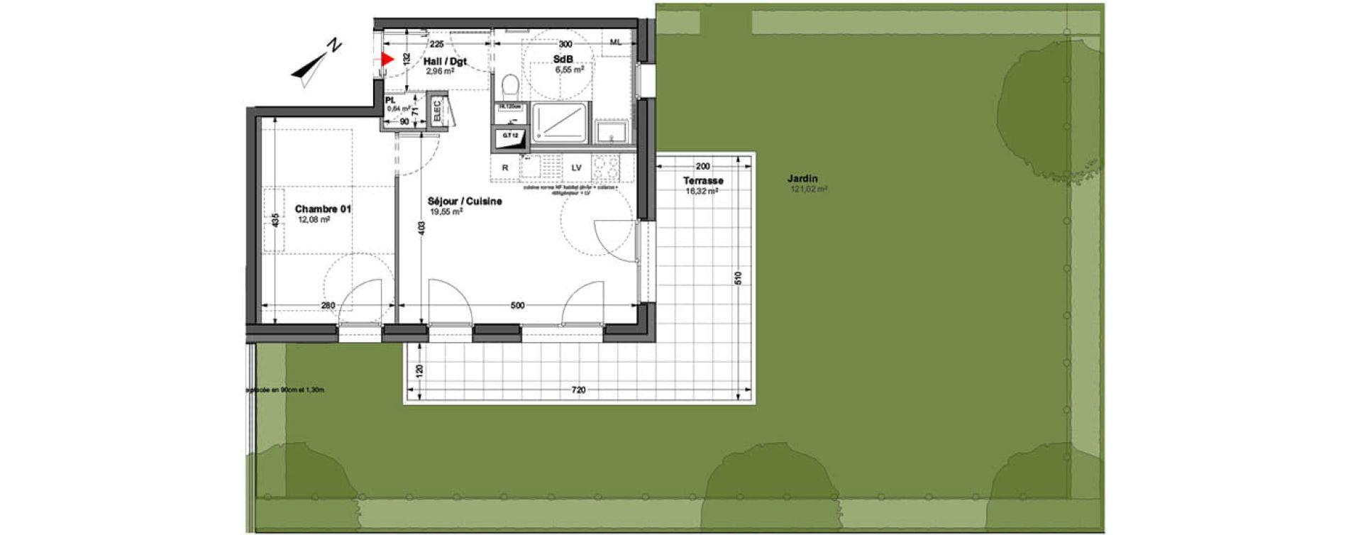 Appartement T2 de 41,78 m2 à Huningue Centre