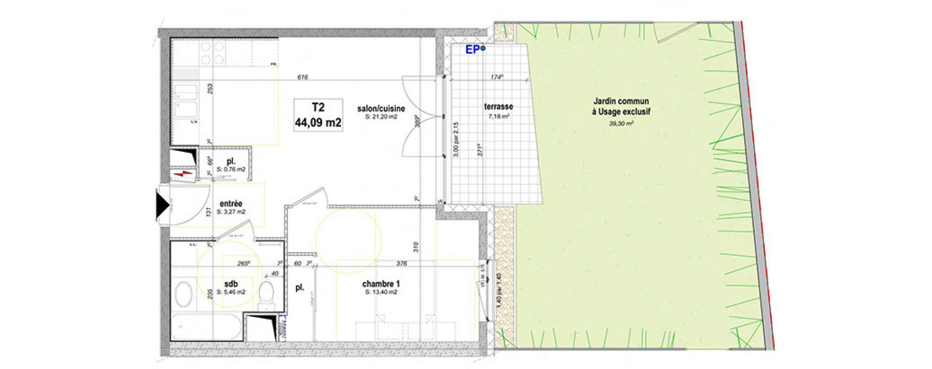 Plan T2 neuf à Essey-lès-Nancy de