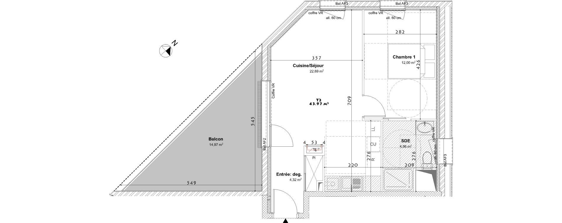 Appartement T2 de 43,97 m2 à Laxou Centre