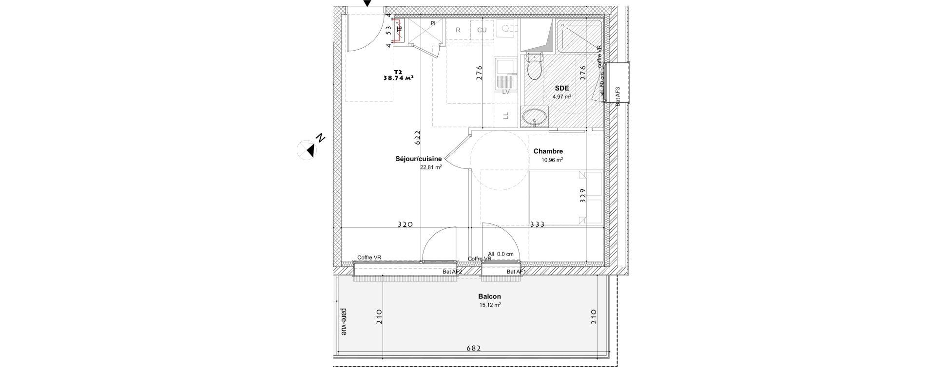 Appartement T2 de 38,74 m2 à Laxou Centre