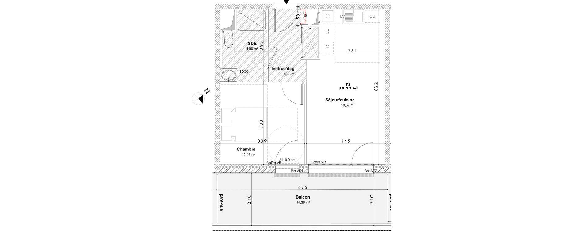 Appartement T2 de 39,17 m2 à Laxou Centre