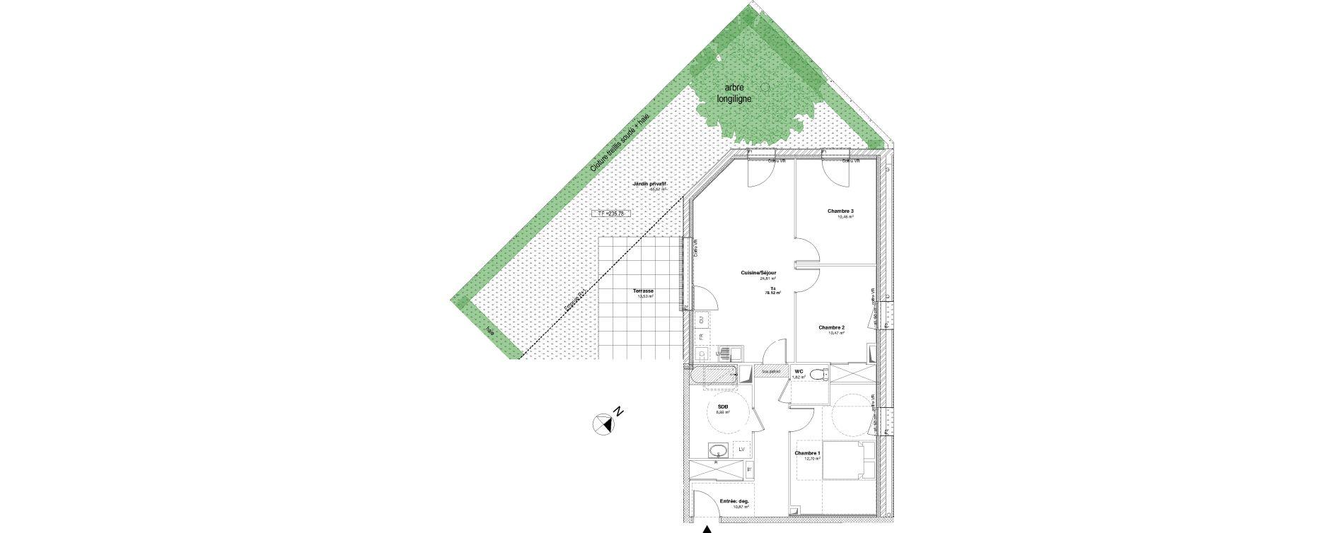 Appartement T4 de 78,12 m2 à Laxou Centre