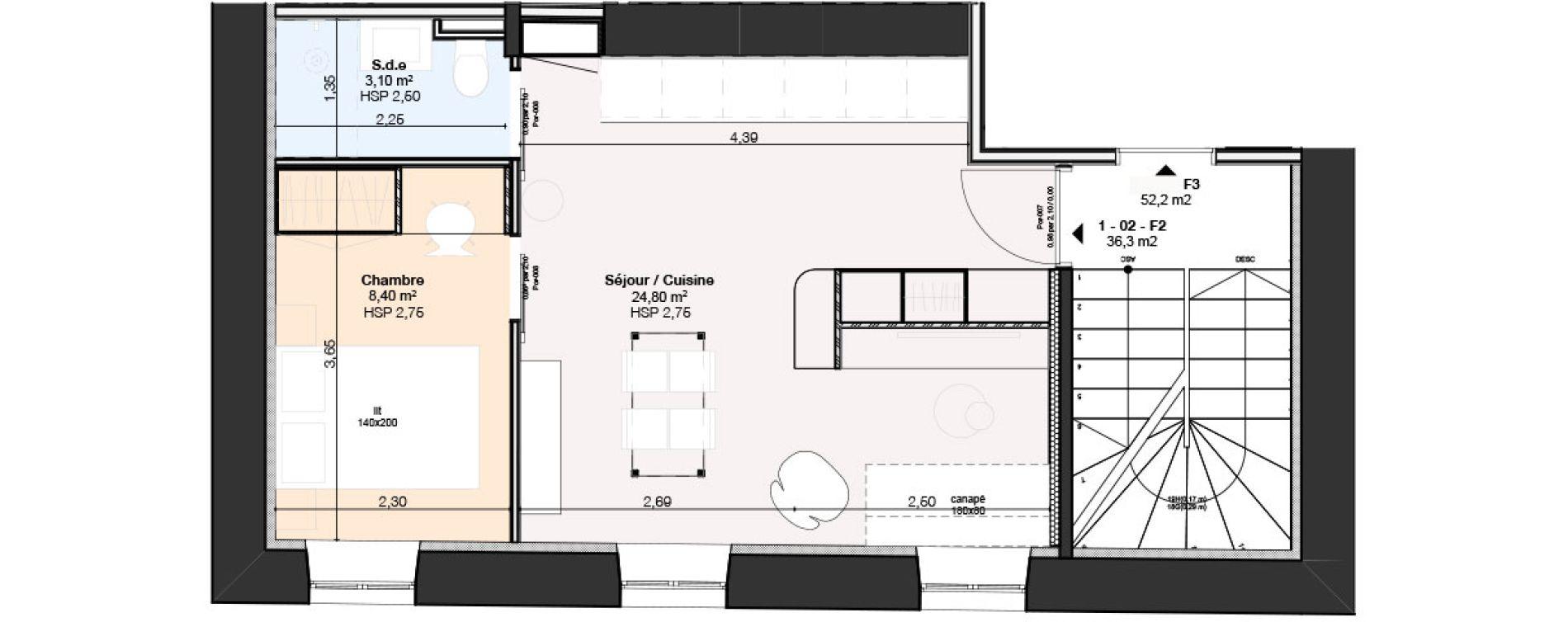 Appartement T2 de 36,30 m2 à Nancy Rives de meurthe