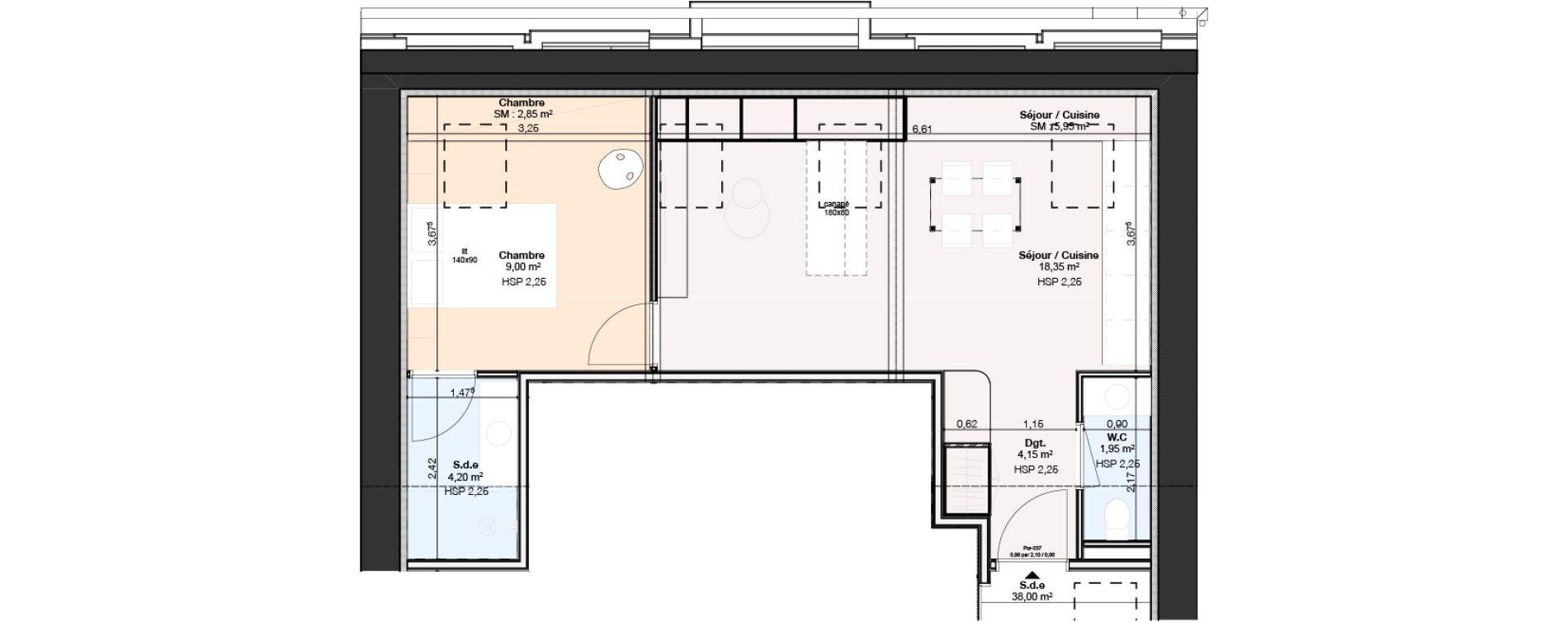 Appartement T2 de 46,40 m2 à Nancy Rives de meurthe