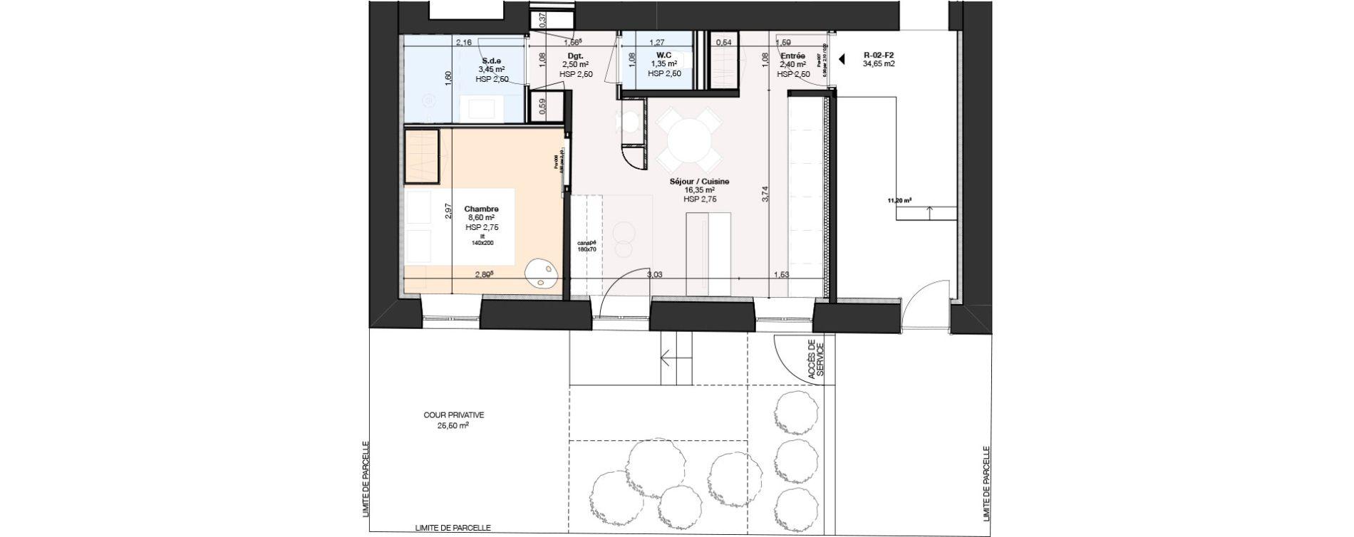 Appartement T2 de 34,65 m2 à Nancy Rives de meurthe