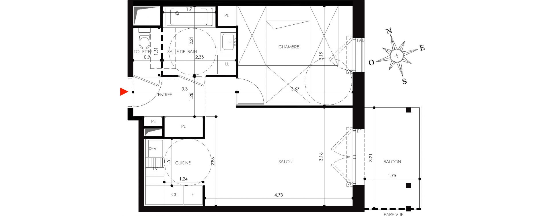 Appartement T2 de 42,00 m2 à Nancy Grand coeur