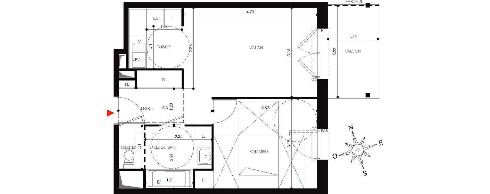 Appartement T2 de 43,00 m2 à Nancy Grand coeur