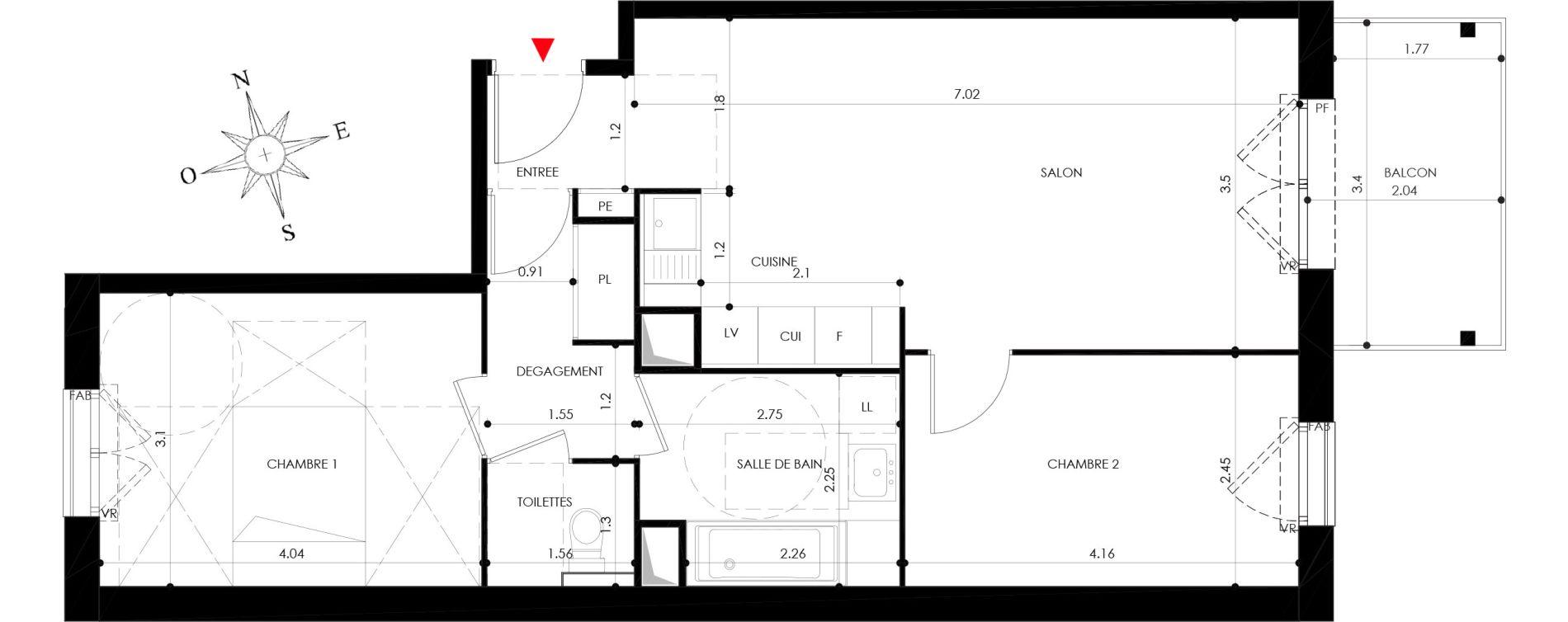 Appartement T3 de 61,00 m2 à Nancy Grand coeur