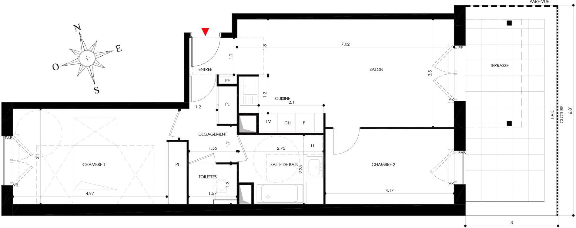 Appartement T3 de 67,00 m2 à Nancy Grand coeur
