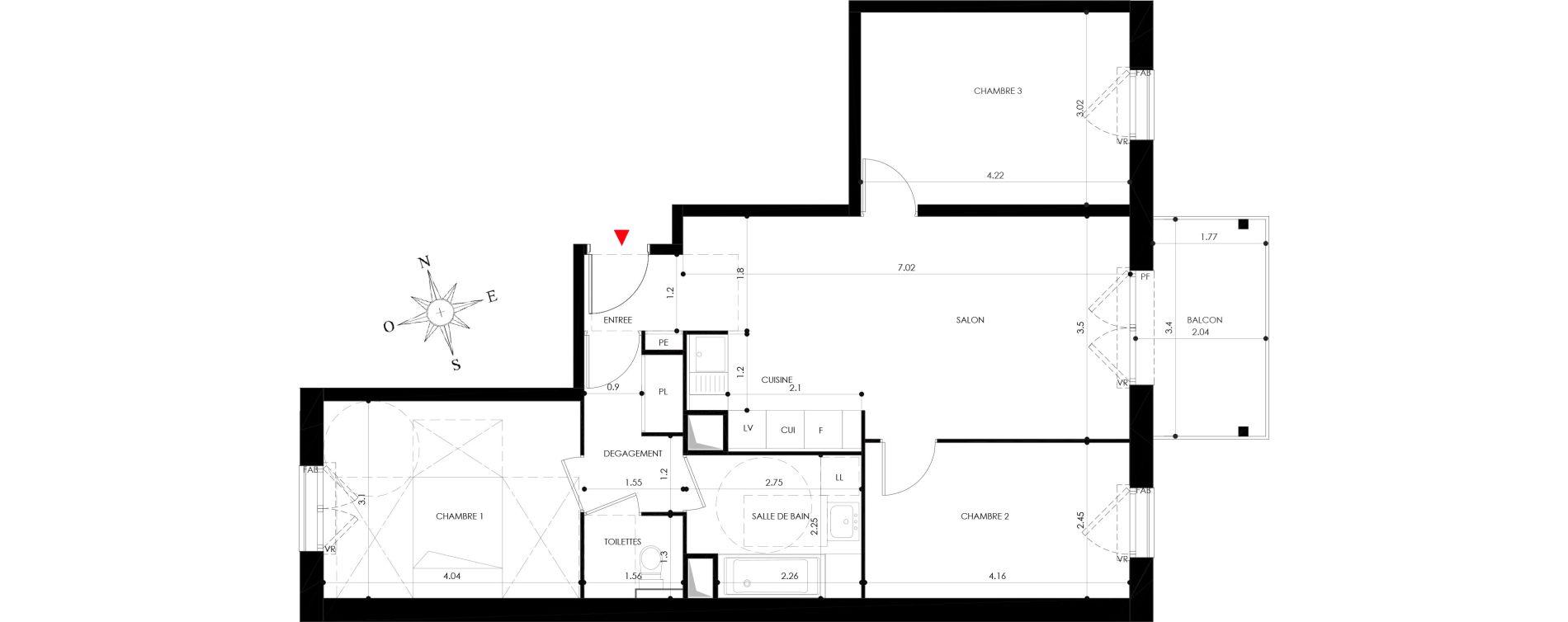 Appartement T4 de 74,00 m2 à Nancy Grand coeur