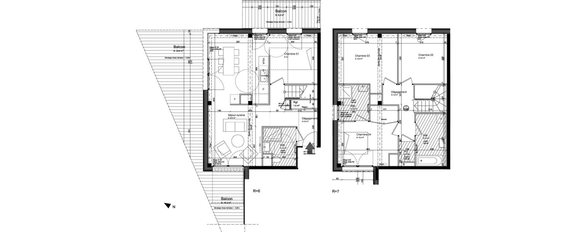 Duplex T5 de 104,40 m2 à Nancy Grand coeur