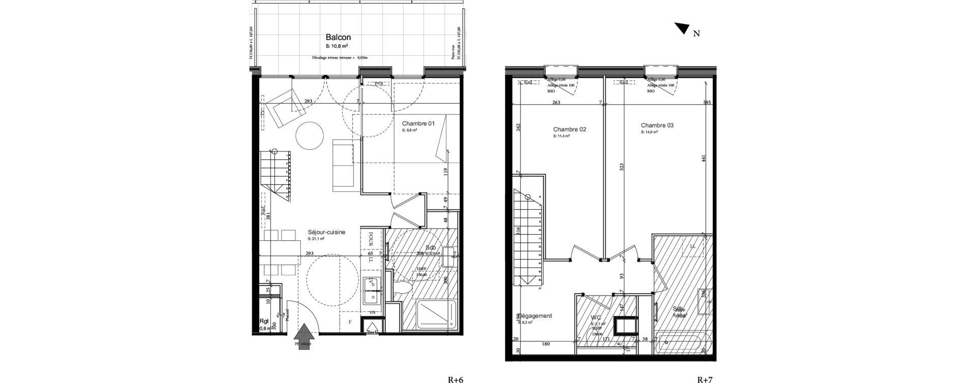 Duplex T4 de 76,40 m2 à Nancy Grand coeur